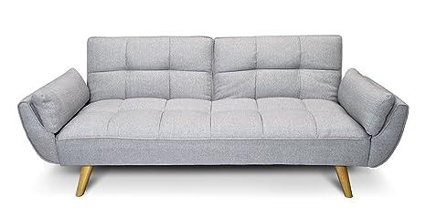 Divano letto in tessuto grigio chiaro - Divanetto 3 posti mod.Ambra ...