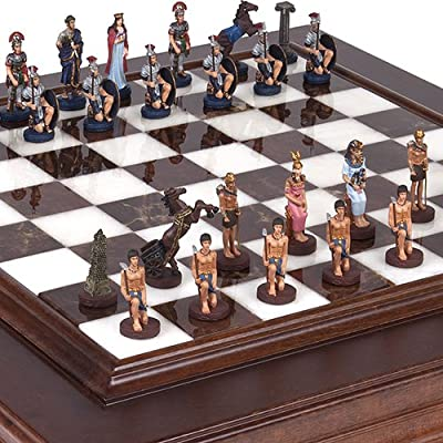 Hand Painted Romans & Egyptian Solid Pewter Chessmen, with Alabastro Luxury Chess Board/Cabinet from Italy, King: 2 1/2""