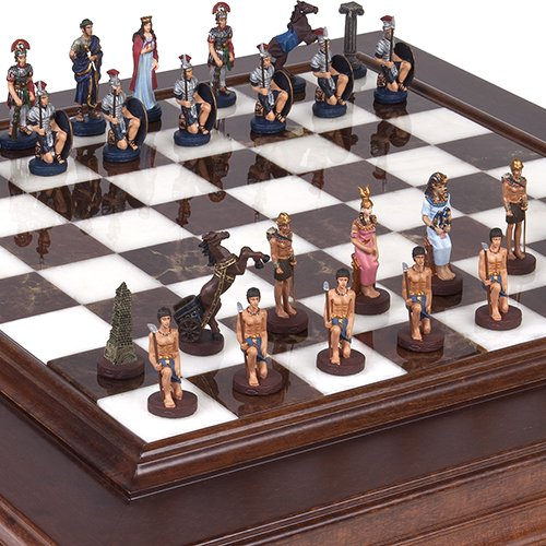 Hand Painted Romans & Egyptian Solid Pewter Chessmen, with Alabastro Luxury Chess Board/Cabinet from Italy, King: 2 (Brown Alabaster Chess Set)