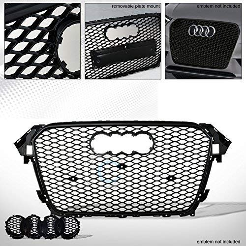 HS Power Black Front Grille RS-Honeycomb Mesh Bumper Grille Guard with Emblem Base 2013-2015 for Audi A4 B8.5 ()