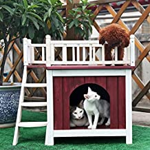 Petsfit 73cm Lx55cm Wx68cm H Cat House with Rooftop,Dog House,Wooden Indoor Dog House Cat Condo