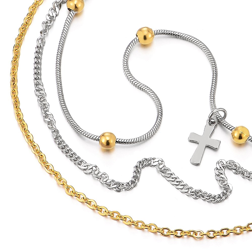 Stainless Steel Gold Silver Double Chain Anklet Bracelet with Beads and Dangling Charms of Cross by COOLSTEELANDBEYOND (Image #2)
