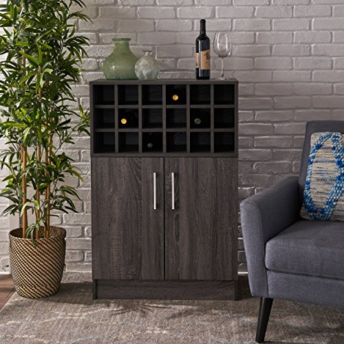 Ridgecrest Wine and Bar Cabinet | Mid Century Modern, Danish Styling | Faux Wood with Sonoma Grey Oak Finish