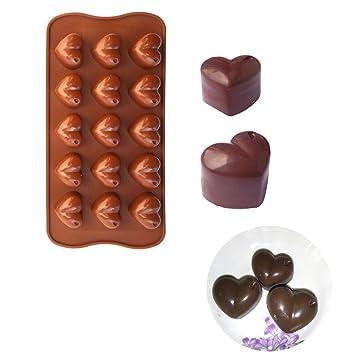 freshyware 15 Cavidad especial Yummy Mini con forma de corazón molde de silicona para hacer jabón