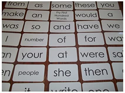 100 Miniature Laminated Fry First Hundred reading sight word flash cards.  Pre-k