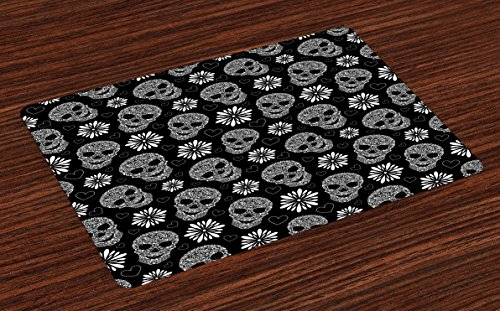 Lunarable Skull Place Mats Set of 4, Monochrome Heart Shapes with Floral Composition Gothic Inspirations Halloween, Washable Fabric Placemats for Dining Room Kitchen Table Decoration, Black and White ()