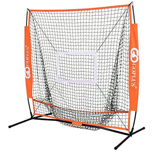 Goplus 5'×5' Baseball Practice Net Softball Hitting Batting Training Net Bow Frame w/ Bag by Goplus
