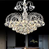 Lightess Crystal Chandelier Lighting Flush Mount Ceiling Light Fixtures Modern Pendant Lamp with Balls 3-Lights, DY-3CL