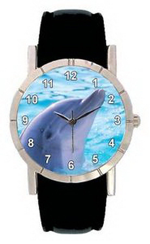 jwl0840 Dolphinメンズレディース本革防水クオーツ腕時計 B01NBLBH2L