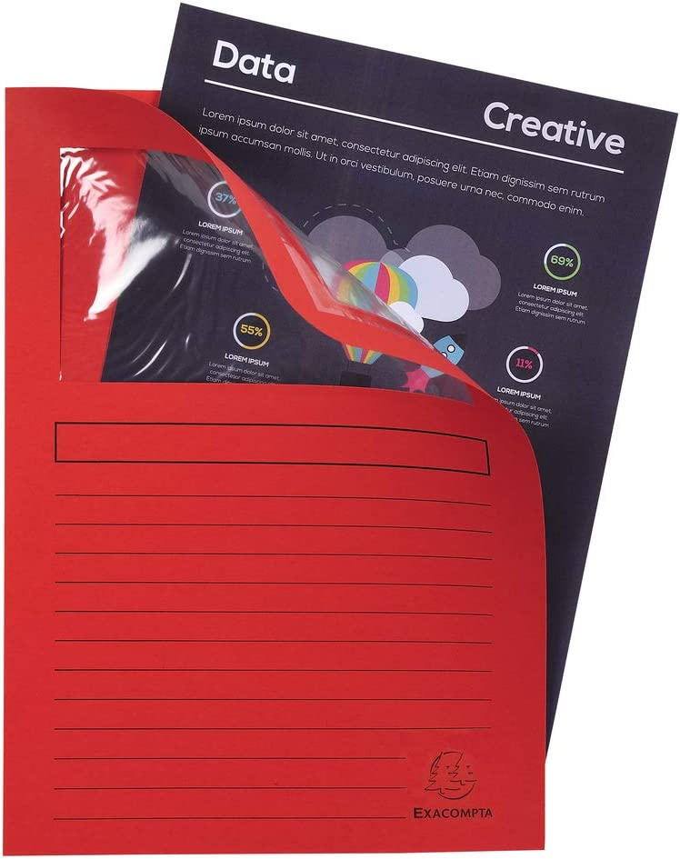 forever 25 St/ück rot Din A4 mit Organisationsdruck aus Recycling-Karton 120 g Exacompta 50255E Fenstermappen Packung