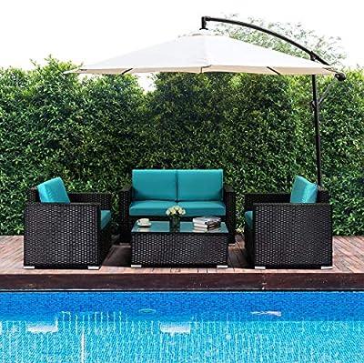 Tangkula 4PC Patio Rattan Sofa Outdoor Garden Modern PE Wicker Rattan Sofa Conversation Furniture Set with Cushion
