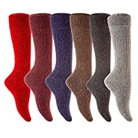 Meso Women's 6 Pairs Knee Length Wool Boot Socks Size 7-9 Six Colors