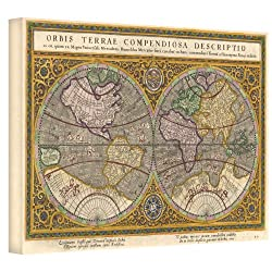 Art Wall Orbis Terrae Compendiosa Descriptio Antique Map Gallery Wrapped Canvas Art, 32 By 48-inch