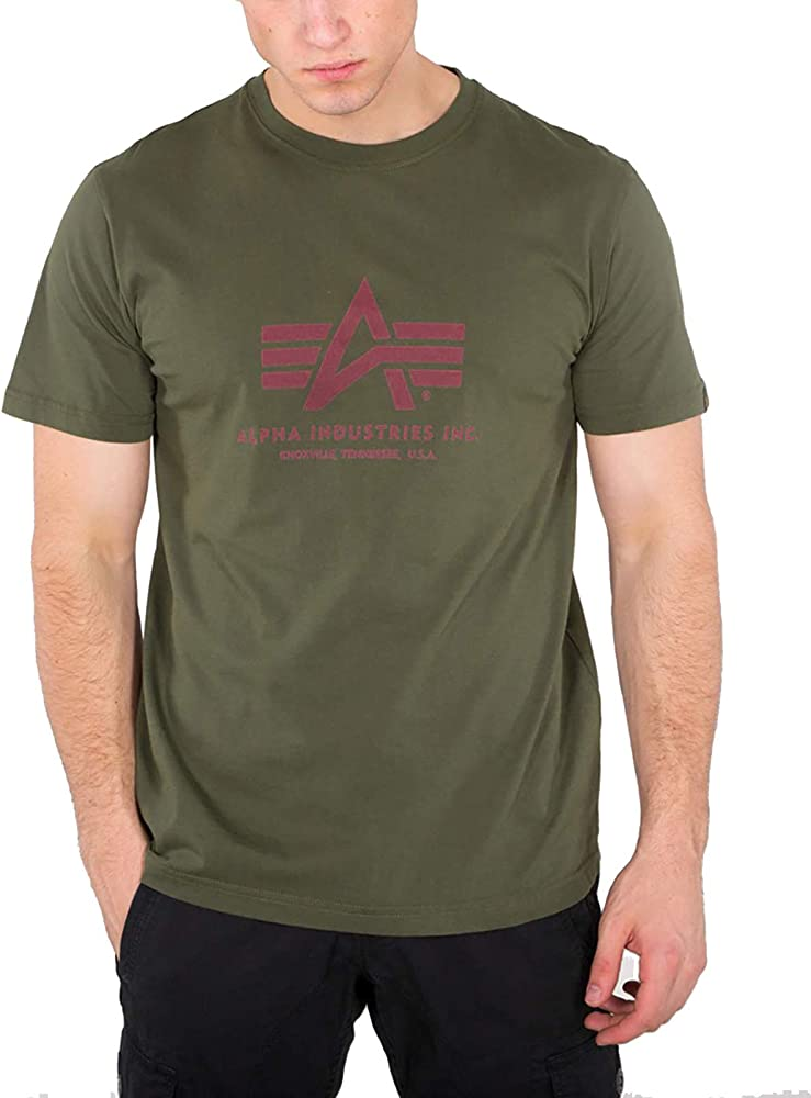 Alpha Industries Men T-Shirt Basic, Größe:XS, Farbe:Dark Green ...