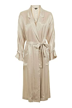 30559ed0e87a Topshop Gold 80s Satin Long Duster Trench Coat Jacket Outerwear UK 14 /  Euro 42 / US 10 with Tags: Amazon.co.uk: Clothing