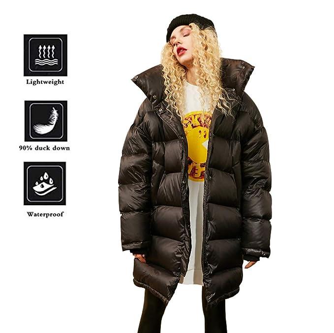 Elf Sack Mujer Abrigo de Invierno Puffer 90% DE Pato Blanco Abajo de Largo Chaqueta Acolchada Abajo Chaqueta Negro L: Amazon.es: Ropa y accesorios
