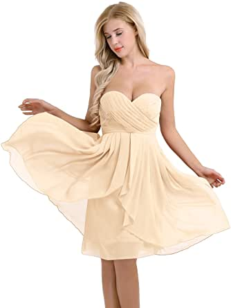 YiZYiF Women's Strapless Ruched Bust Chiffon Elegant Evening Party Bridesmaid Wedding Dress