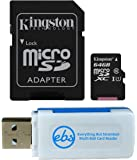 Kingston 64GB SDXC Micro Canvas Select Memory Card and Adapter Bundle Works with Samsung Galaxy A10, A20, A70 Cell Phone (SDCS/64GB) Plus (1) Everything But Stromboli (TM) MicroSD and SD Card Reader