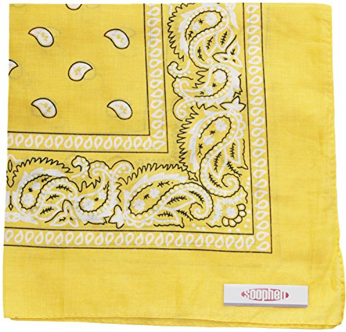 (Soophen Paisley One Dozen Cowboy Bandanas (Middle Yellow 22 X 22 in , 12-Pack))