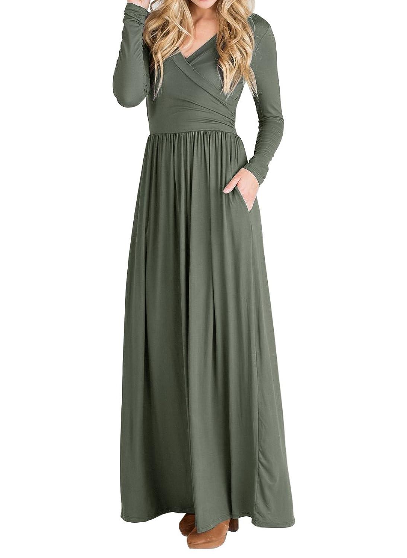 5e7c1d8854 Features: Casual style, two side pockets, wrap at waist, maxi dresses,  simple design maxi long dresses for women, casual shift plain t shirt dress, maxi ...