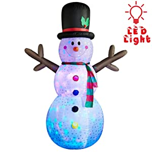 SUPERJARE 8 Ft Flashing Lights Inflatable Snowman, Christmas Decoration, Airblown Snowman with Fan and Anchor Ropes, Animated for Yard Party Lawn, Indoor & Outdoor