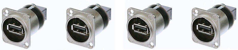 4 Genuine Neutrik NAUSB-W Chassis Panel Mount Reversible USB Data Gender Changer