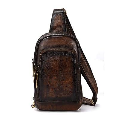 Cool Men Cowhide Real Leather Shoulder Bag messenger bag Crossbody bag Backpack