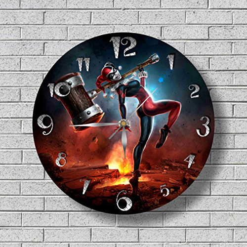 HARLEY QUINN WALL CLOCK Quiet Sweep Movement Decorative Battery Operated Wall Clock 11,8 Inch – for devoted fans of DC (Best Harley Quinn Costume)