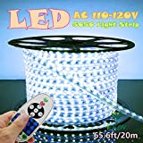 IEKOV trade; AC 110-120V Flexible LED Strip Lights, 60 LEDs/M, 4000K(Daylight White), Dimmable, Waterproof 5050 SMD LED Rope Light +Remote Controller for Home Decoration (65.6ft/20m,Natural White)