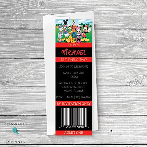 Amazon Com Mickey Mouse Ticket Invitation Mickey Mouse Birthday