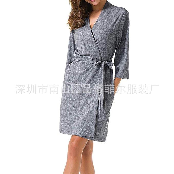 Batas Y Kimonos para Mujer Pijama De Algodón De Cinco Puntos De Servicio De Casa De Servicio Albornoz Mujeres, Gris, S: Amazon.es: Ropa y accesorios