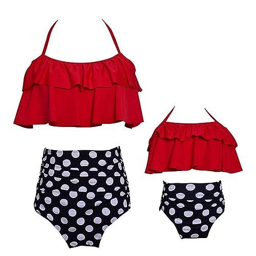 TMEOG Baby Girls Bikini Swimsuit Set Family Matching Mother Girl Swimwear