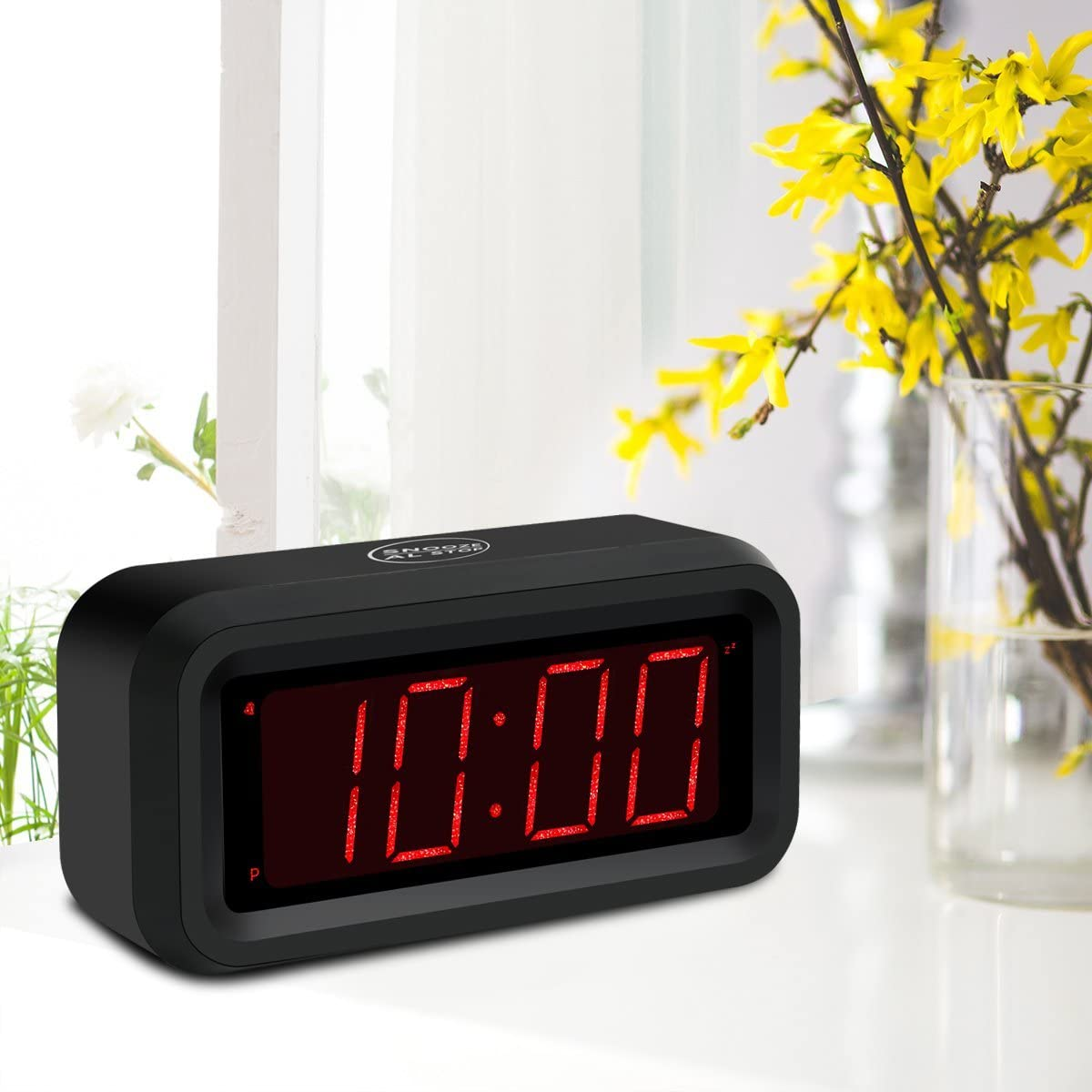 KWANWA Digital Desk Clock Small Battery Operated Clock for Media Center with 1.2 LED Number Display