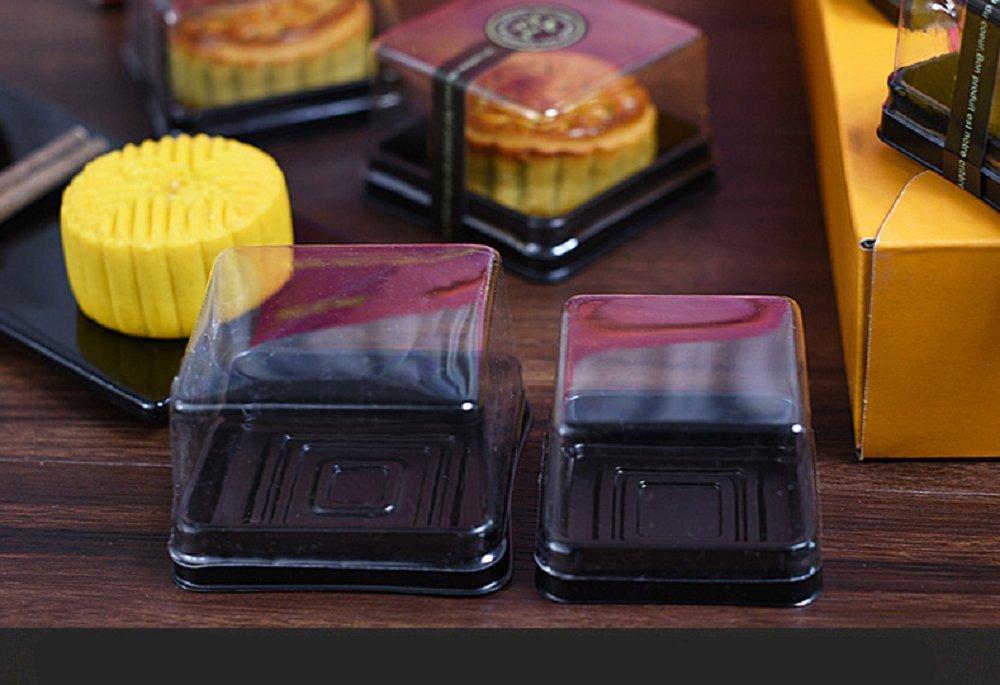 Hewnda 50 pieces 2.2'' of transparent plastic mini cake box muffins box cookies cookies muffins dome box wedding birthday gift box (80g black)