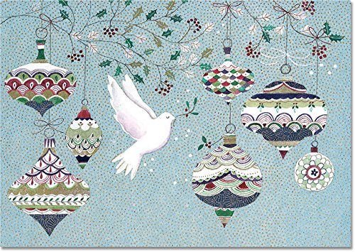 Dove and Ornaments Small Boxed Holiday Cards (Christmas Cards, Greeting Cards)