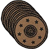 VHC Brands Classic Country Primitive Tabletop & Kitchen - Farmhouse Jute Black Stencil Stars Round Tablemat Set of 6