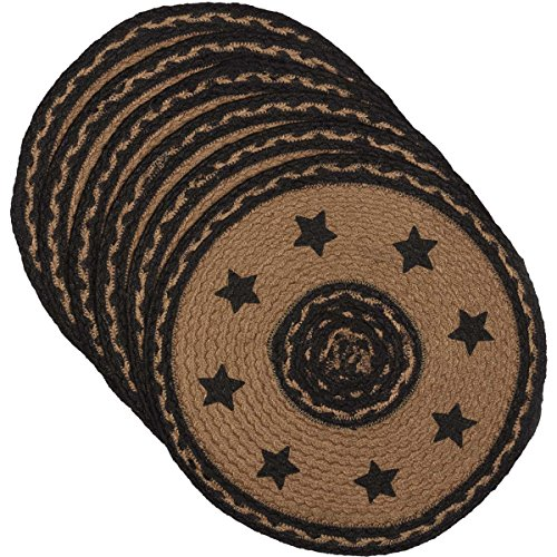 - VHC Brands Classic Country Primitive Tabletop & Kitchen-Farmhouse Jute Black Stencil Stars Round Tablemat Set of 6