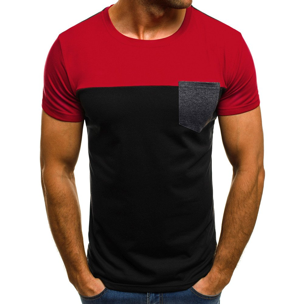 Solid T Shirts Family,Men Muscle T-Shirt Slim Casual Fit Short Sleeve Patchwork Pocket Blouse Top RD/M,Red,M