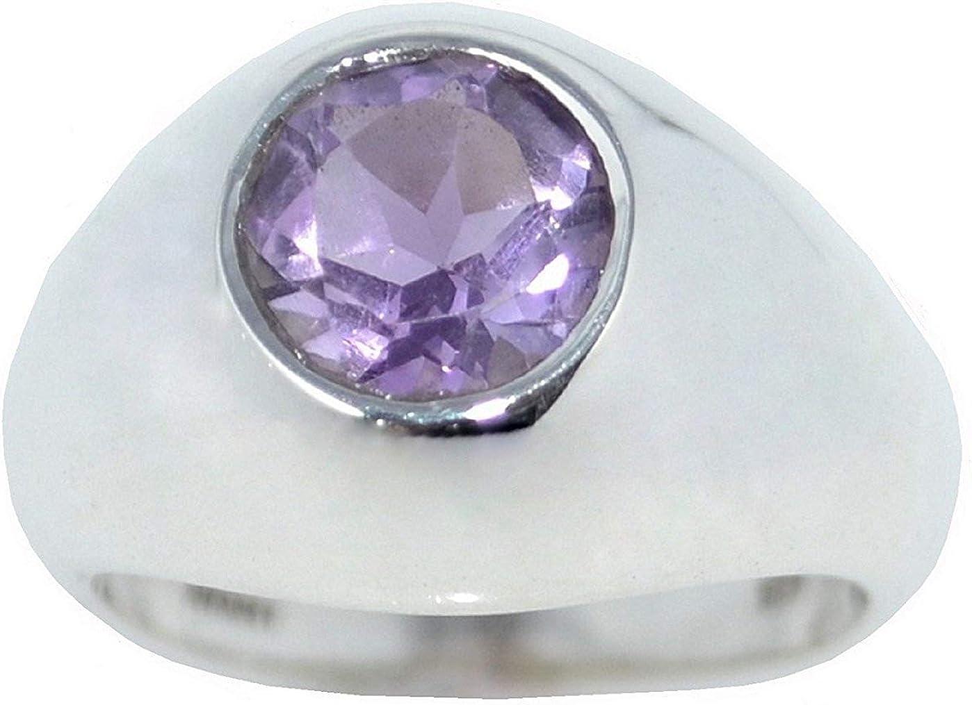 De caballero Plata De Ley 925 Amatista Violeta Anillo Hombre, Auténtico Piedra preciosa, Tallas N a Z+5 Disponible