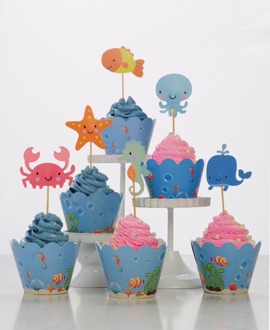 BeBeFun Adjustable Cupcake Wrappers and Toppers Under the Sea and Marin Animals Theme for Kids Birthday Party Supplies and Special Events Supplies 24pcs Wrappers and 24pcs Toppers in Pack. by BeBeFun (Image #2)