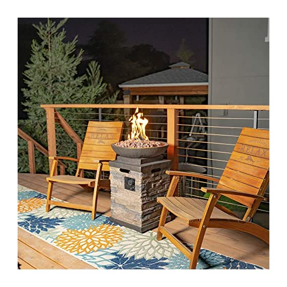Bond Manufacturing 63172 Newcastle Propane Firebowl Column Realistic Look Firepit Heater Lava Rock 40,000 BTU Outdoor Gas Fire Pit 20 lb, Natural Stone - Make sure this fits                by entering your model number. Throw the ultimate s'mores party, host an outdoor date-night, tell spooky stories around the flame, or just enjoy a good book beside the inviting Newcastle Firebowl! 40,000 BTU heat output provides warmth and light - patio, outdoor-decor, fire-pits-outdoor-fireplaces - 61p1RbE TXL. SS570  -