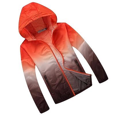 Generic Veste de Sport Femme Homme Capuche Anti-uv Impermeable Séchage Rapide Léger Coloré - Orange et Brun, M