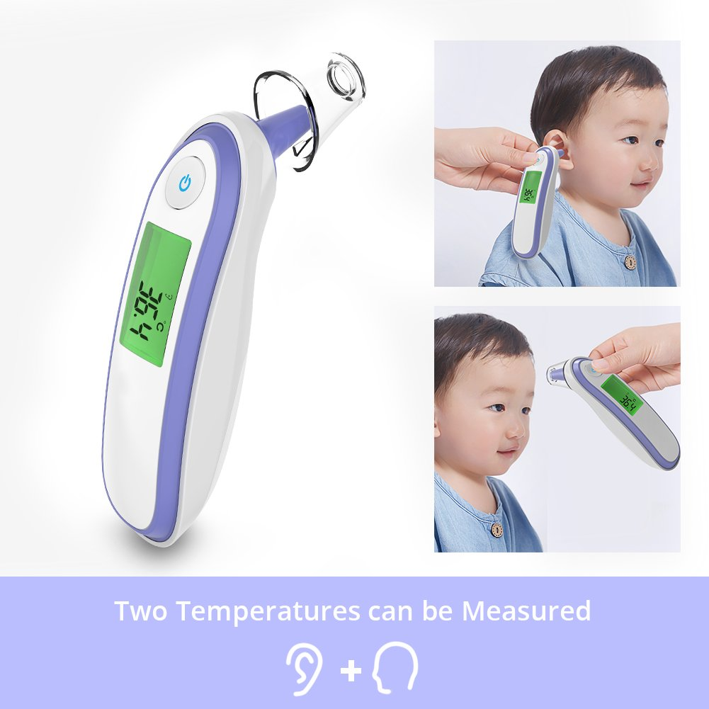 Yonker Medical Forehead and Ear Thermometer, Infrared Digital Thermometer Suitable for Baby Infant Toddler and Adults with FDA and CE Approved Batteries Included YK-IRT1(Purple)