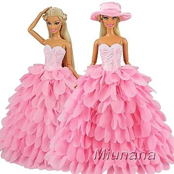 Miunana 1 Vestido de Noche + 1 Sombrero con Rosado Ropa Vestir Fiesta Accesorios como Regalo