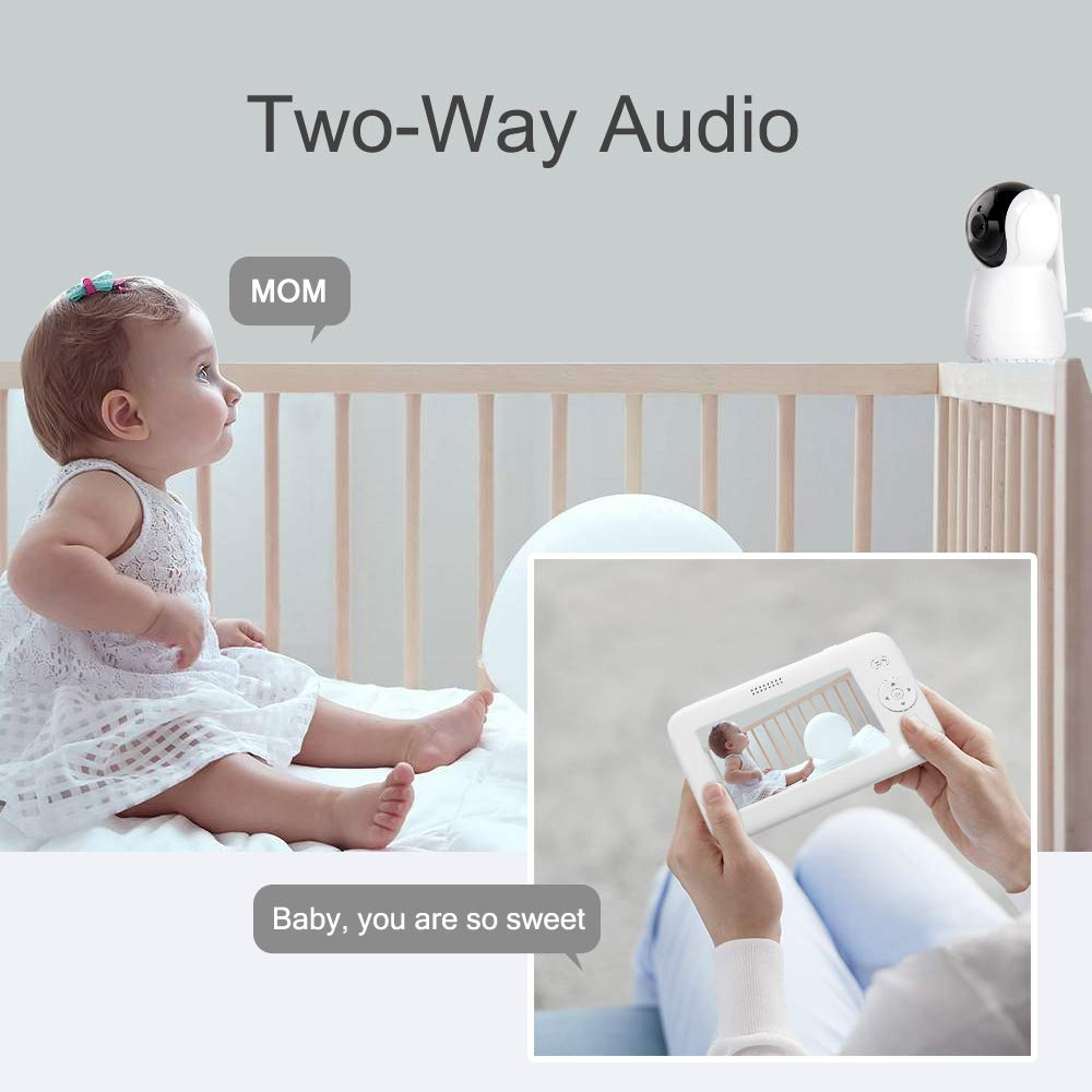 2 Way Talk Night Vision Room Temperature and 4 Lullabies Play Video Baby Monitor with Camera and Audio,up to1200ft of Range VOX Audio Monitoring