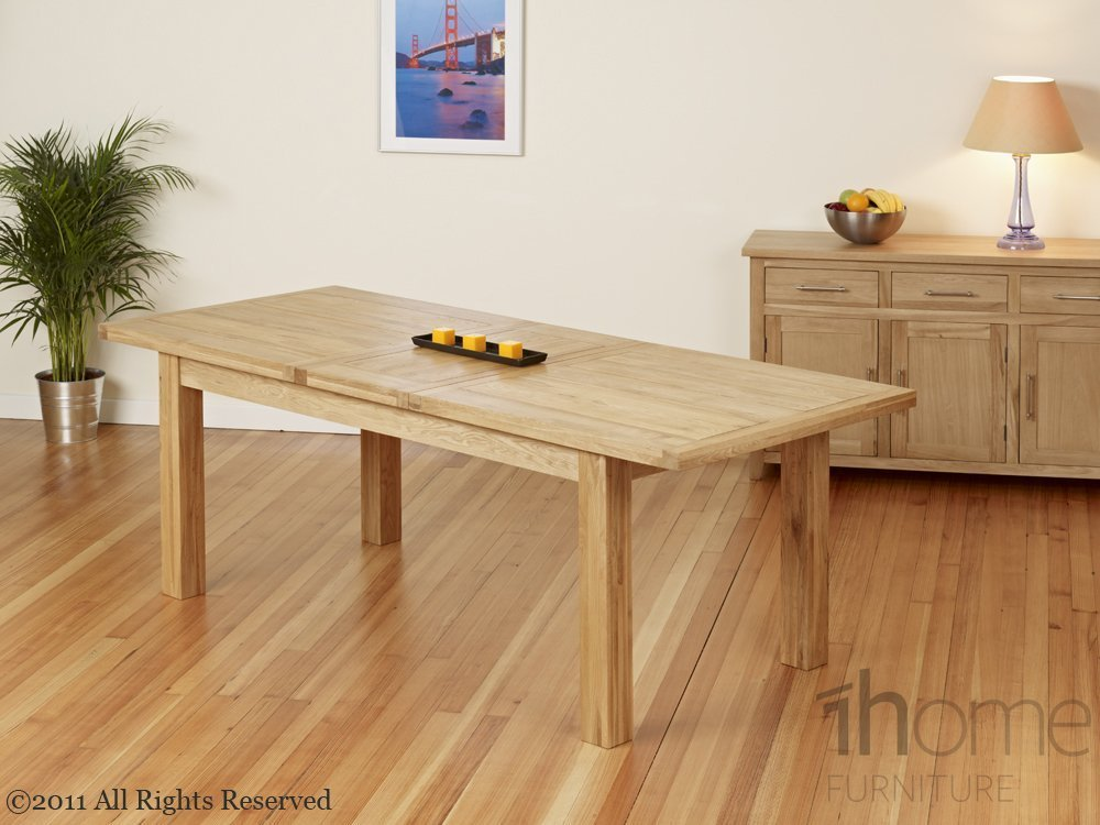 1home Dining Table Set 100 Solid Oak Double Extending Table 180cm