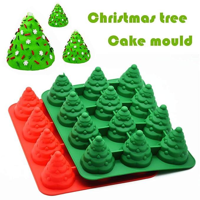 TAOtTAO - Molde de Silicona para decoración de Pan de Tartas, diseño de árbol de Navidad en 3D, Rojo, 35x26.5x7cm: Amazon.es: Hogar