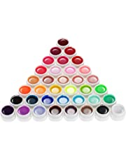 Anself 36 Color Nail Art Pigment Set UV Gel Polish Solid Glue