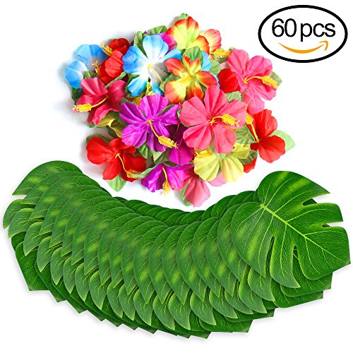 60 Pcs Tropical Party Decoration Supplies 8  Tropical Palm Leaves And Hibiscus Flowers  Simulation Leaf For Hawaiian Luau Party Jungle Beach Theme Table Decorations