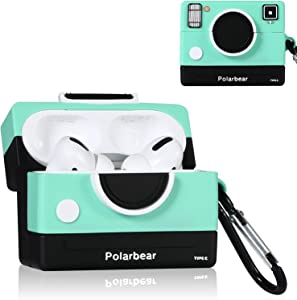 Joyleop(Green Camera) for Airpods Pro/for Airpod 3 Case Cover, 3D Cute Cartoon Funny Fun Cool Stylish Fashion Pattern,Soft Silicone Air pods Character Skin Keychain Accessories Kits for Airpod Pro/ 3